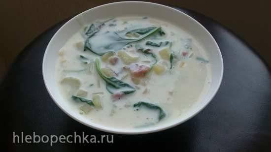 Картофельный крем-суп с беконом для мультиварки Bork