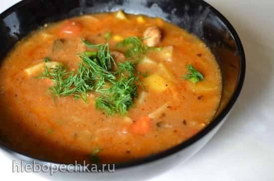 Овощной суп-пюре с жареной свининой от бабушки Нелли (Grandma Neelys Fried Pork Chop Vegetable Soup) (Мультиварка Brand 37501)