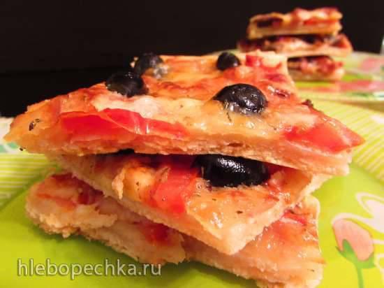 Двойная а-ля пицца-пирог на сметанном бездрожжевом тесте