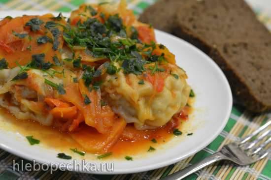 Мясные улитки в овощном соусе