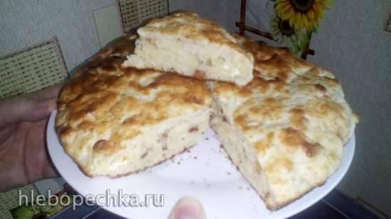 Творожный кекс с сушенными яблоками